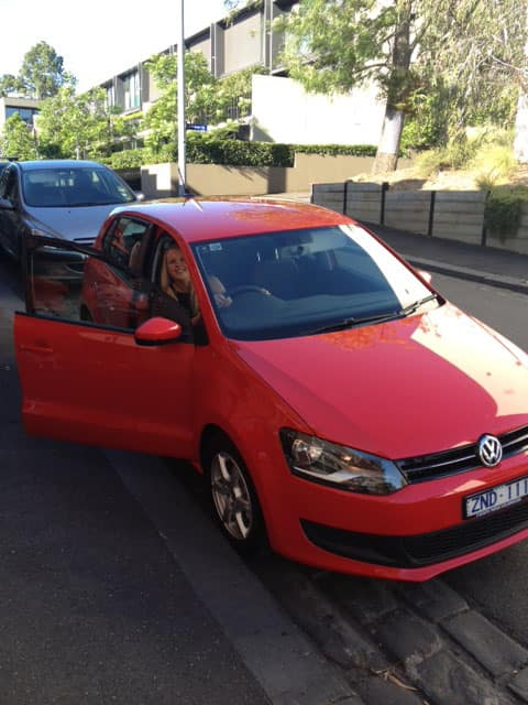 Georgie Quale and her new Volkswagen Polo