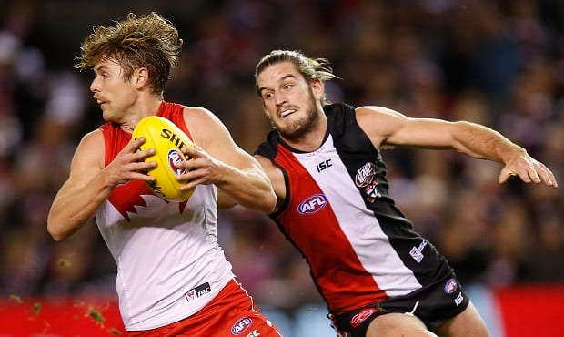 Dane Rampe will slot back into defence for his 100th game on Saturday when the Sydney Swans take on St KIlda in Docklands.