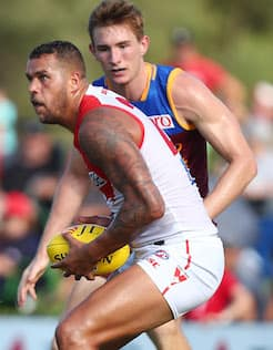 Lance Franklin booted four goals in the Swans' big win over the Lions in their first of two JLT Community Series games.