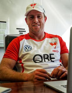 Steve Johnson is looking forward to working with a forward line spearheaded by Lance Franklin. - Steve Johnson