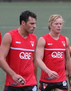 Isaac Heeney and Toby Nankervis leave a we oval during Wednesday's session.