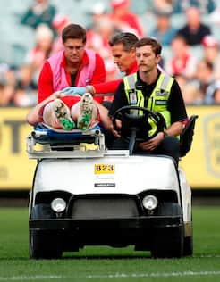 Gary Rohan is taken from the MCG after a sickening incident against Carlton.