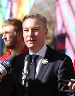 Andrew Pridham at the launch of the inaugural Pride Game in 2017.