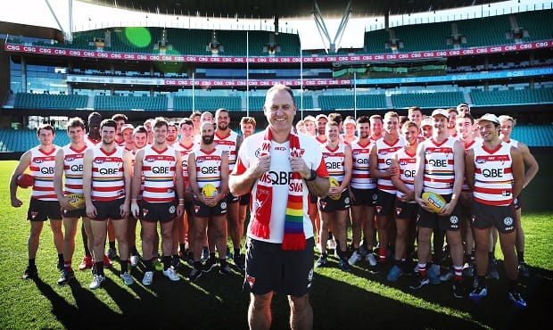 Coach John Longmire and his playing group ahead of Saturday night's Pride Game at the SCG.