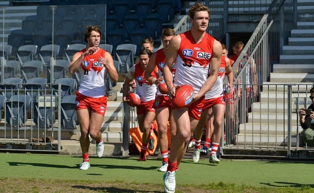 Brandon Jack leads the NEAFL side out ahead of their preliminary final against Gold Coast. Photo by Matt Corby - Brandon Jack