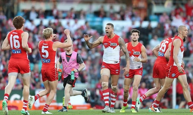 Lance Franklin and Isaac Heeney celebrate a goal against Essendon during Saturday's final at the SCG.