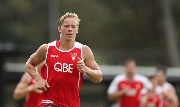 Isaac Heeney during pre-season training for the Sydney Swans. - Isaac Heeney