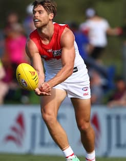 Dane Rampe in action for the Swans during the first JLT seres match against Brisbane.