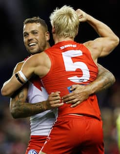 Isaac Heeney and Lance Franklin celebrate a goal against the Western Bulldogs on Saturday.