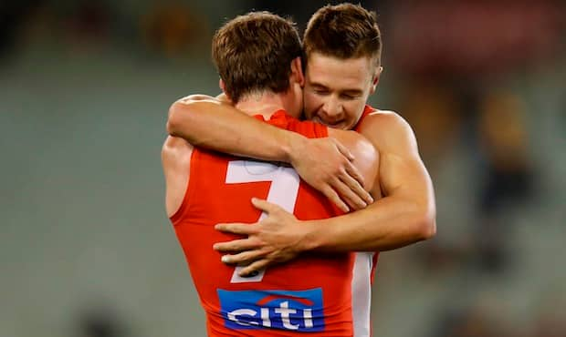 Ben Ronke and Harry Cunningham celebrate Friday night's win over Hawthorn.