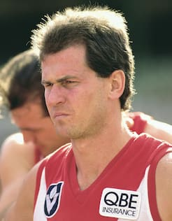 Dennis Carroll watches on during a quarter time break at the SCG.