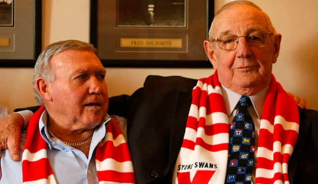 Bob Skilton (L) & Fred Goldsmith (R) reminisce during a Sydney Swans Hall of Fame event.