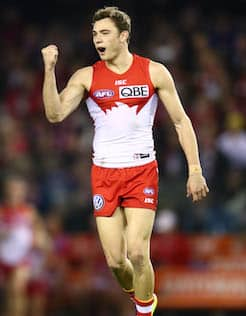 Swans young gun Will Hayward celebrates a goal in Sydney's win over St Klida last Saturday.