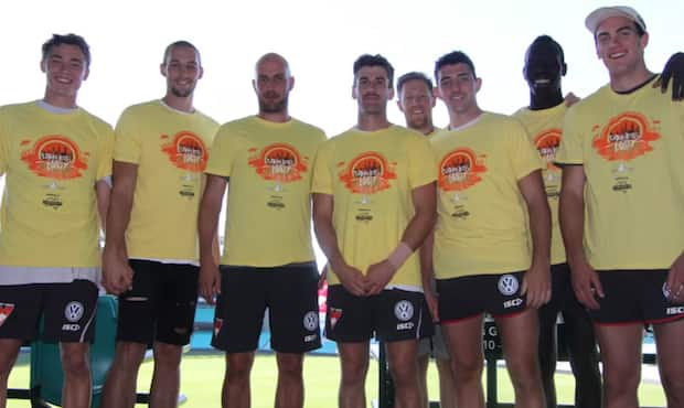 Tadhg Kennelly (third from left) participated in a charity walk for mental health on Saturday.
