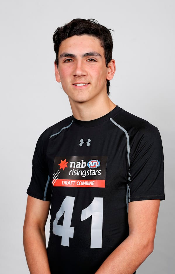 MELBOURNE, AUSTRALIA - OCTOBER 05: Justin McInerney poses during the AFL State Draft Combine - Victoria headshot session at Marvel Stadium on October 5, 2018 in Melbourne, Australia. (Photo by Michael Willson/AFL Media)