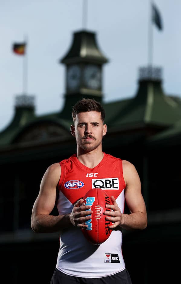 SYDNEY, AUSTRALIA - AUGUST 30:  Jake Lloyd poses during a Sydney Swans AFL media opportunity at the Sydney Cricket Ground on August 30, 2018 in Sydney, Australia.  (Photo by Matt King/Getty Images/AFL Media)