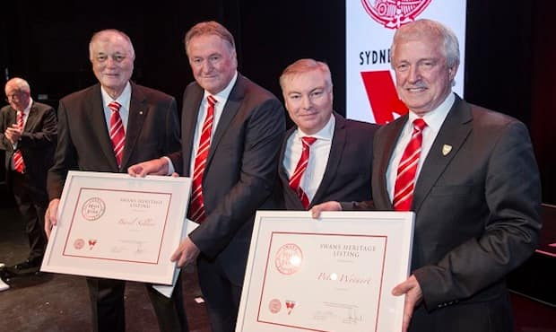 Basil Sellers pictured with Andrew Ireland, Andrew Pridham and Peter Weinert at the 2015 Guernsey Presentation night.