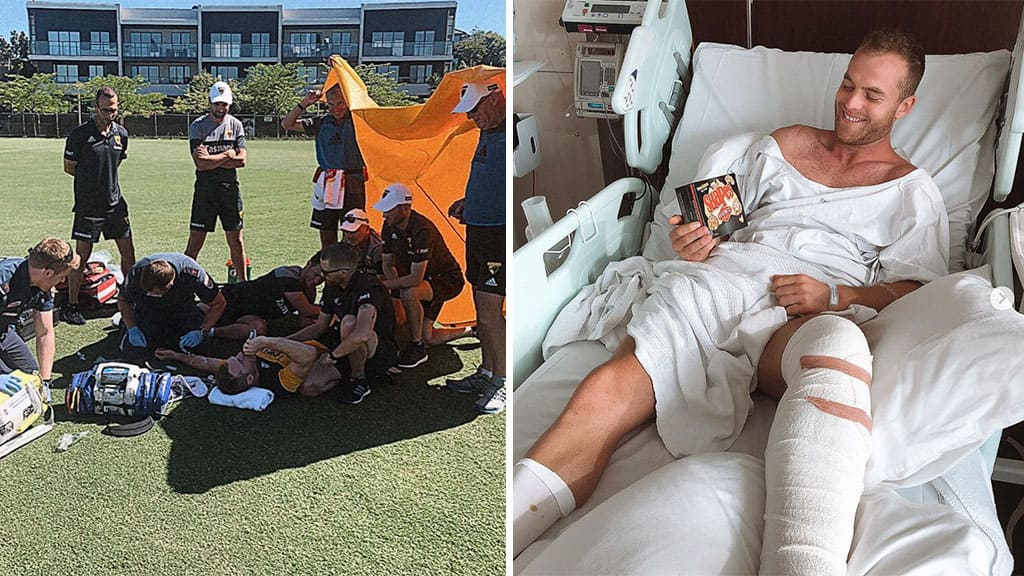 Tom Mitchell is recovering in hospital after having surgery on his broken leg. Pictures @tommitchell6 / Instagram - AFL,Hawthorn Hawks,Injuries,Tom Mitchell