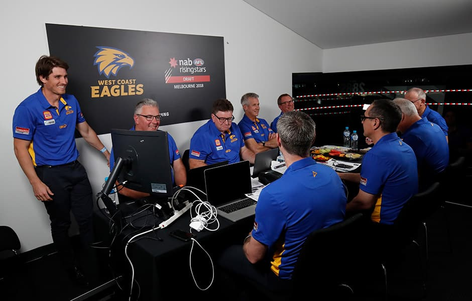 MELBOURNE, AUSTRALIA - NOVEMBER 22: Eagles recruiting staff are seen during the 2018 NAB AFL Draft at Marvel Stadium on November 22, 2018 in Melbourne, Australia. (Photo by Adam Trafford/AFL Media)
