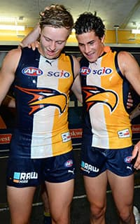 First-year Eagles Jackson Nelson and Liam Duggan celebrate their first victory at the club