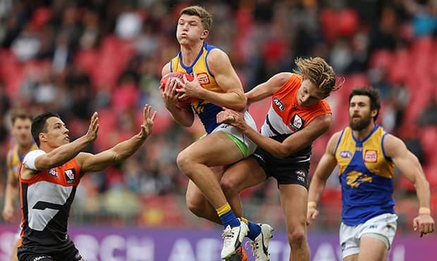 Brayden Ainsworth collected 15 disposals and laid eight tackles in his AFL debut against the Giants