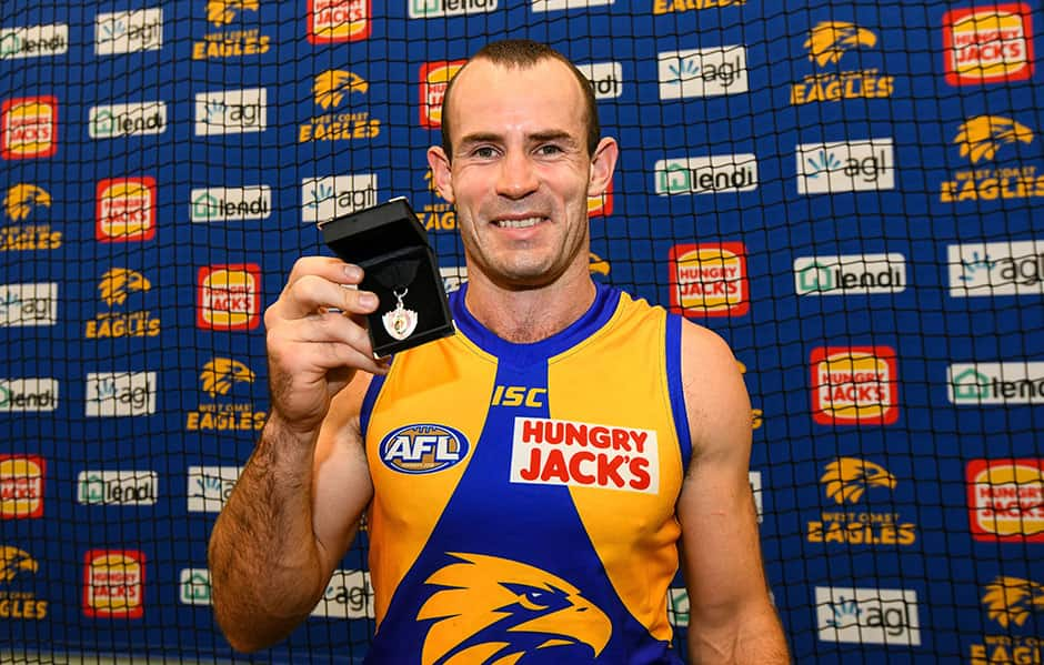 PERTH, AUSTRALIA - APRIL 14: Shannon Hurn of the Eagles with his Best on Ground (Glendinning / Allen Medal) during the 2019 AFL round 04 match between the West Coast Eagles and the Fremantle Dockers at Optus Stadium on April 14, 2019 in Perth, Australia. (Photo by Daniel Carson/AFL Photos)