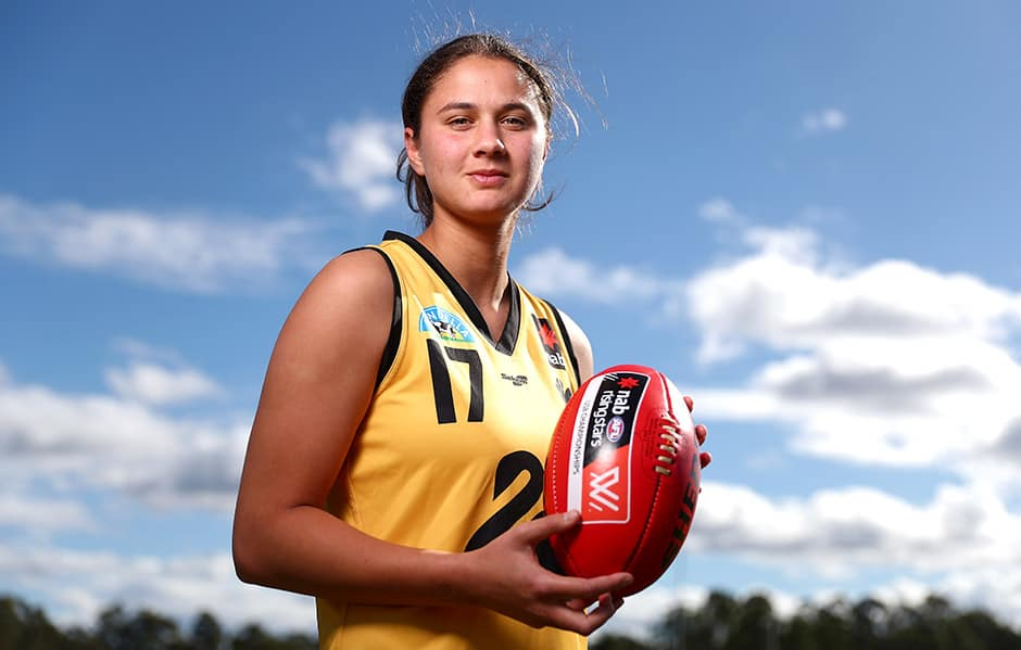 GOLD COAST, AUSTRALIA - JULY 10: Western Australia captain McKenzie Dowrick poses during the NAB Under 18 Women's Championships media opportunity at Bond University on July 10, 2018. (Photo by Chris Hyde/AFL Media)