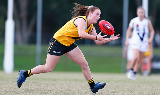 GOLD COAST, AUSTRALIA - JULY 14: WA's Sabreena Duffy during the 2017 AFLW Under 18 Championships match between Vic Country and Western Australia at Broadbeach FC on July 14, 2017 in Gold Coast, Australia. (Photo by Jason O'Brien/AFL Media)