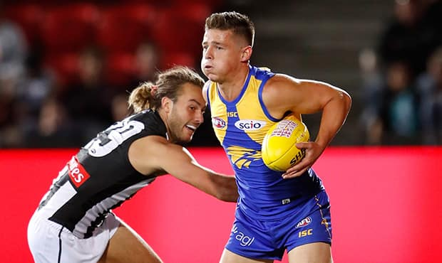 ADELAIDE, AUSTRALIA - FEBRUARY 15: Hamish Brayshaw of the Eagles in action during the AFLX match between the West Coast Eagles and the Collingwood Magpies at Hindmarsh Stadium on February 15, 2018 in Adelaide, Australia. (Photo by Michael Willson/AFL Media)
