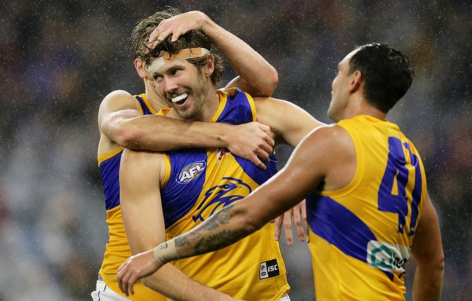 PERTH, AUSTRALIA - JULY 06: Tom Hickey of the Eagles celebrates after scoring a goal during the 2019 AFL round 16 match between the Fremantle Dockers and the West Coast Eagles at the Optus Stadium on July 06, 2019 in Perth, Australia. (Photo by Will Russell/AFL Photos)