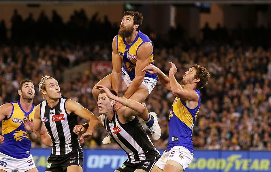 MELBOURNE, AUSTRALIA - APRIL 06: during the round three AFL match between the Collingwood Magpies and the West Coast Eagles at Melbourne Cricket Ground on April 06, 2019 in Melbourne, Australia. (Photo by Michael Dodge/Getty Images)