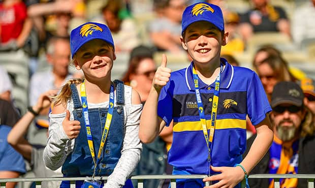 PERTH, AUSTRALIA - JULY 08: Eagles fans show their support during the 2018 AFL round 16 match between the West Coast Eagles and the GWS Giants at Optus Stadium on July 08, 2018 in Perth, Australia. (Photo by Daniel Carson/AFL Media)