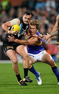 Matt Priddis applied an incredible 41 pressure acts against the Power