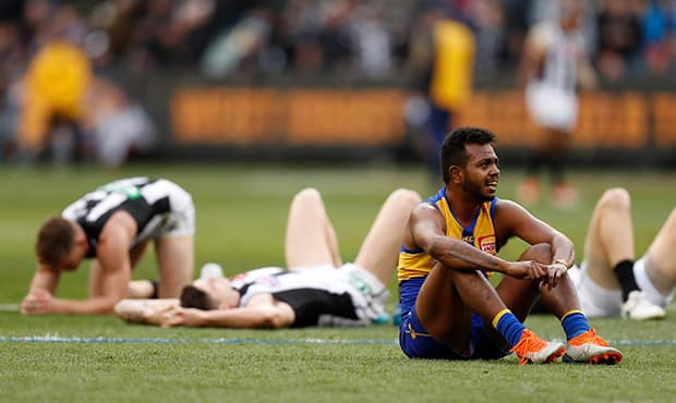MELBOURNE, AUSTRALIA - SEPTEMBER 29: Willie Rioli of the Eagles reacts as the final siren sounds during the 2018 Toyota AFL Grand Final match between the West Coast Eagles and the Collingwood Magpies at the Melbourne Cricket Ground on September 29, 2018 in Melbourne, Australia. (Photo by Michael Willson/AFL Media)