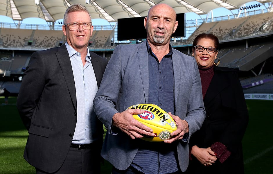 PERTH, AUSTRALIA - JULY 05:  West Coast Eagles premiership player Peter Matera poses  with AFL General Manager Football Operations , Steve Hocking  and  AFL General Manager Inclusion and Social Policy, Tanya Hosch following his  announcement  of being  appointed to join the jury for the AFL Tribunal during an AFL media opportunity at Optus Stadium on July 05, 2019 in Perth, Australia. (Photo by Paul Kane/Getty Images via AFL Photos)