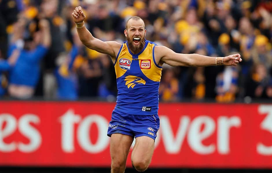 MELBOURNE, AUSTRALIA - SEPTEMBER 29: Will Schofield of the Eagles celebrates as the final siren sounds during the 2018 Toyota AFL Grand Final match between the West Coast Eagles and the Collingwood Magpies at the Melbourne Cricket Ground on September 29, 2018 in Melbourne, Australia. (Photo by Michael Willson/AFL Media)