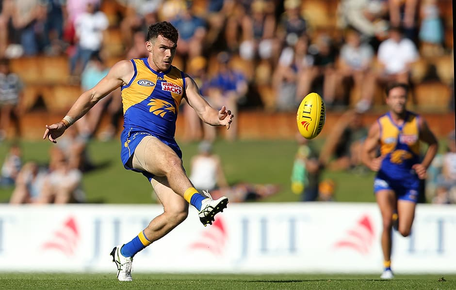 PERTH, AUSTRALIA - MARCH 01: Luke Shuey of the Eagles passes the ball during the 2019 JLT Community Series AFL match between the West Coast Eagles and the Geelong Cats at Leederville Oval on March 01, 2019 in Perth, Australia. (Photo by Paul Kane/Getty Images)