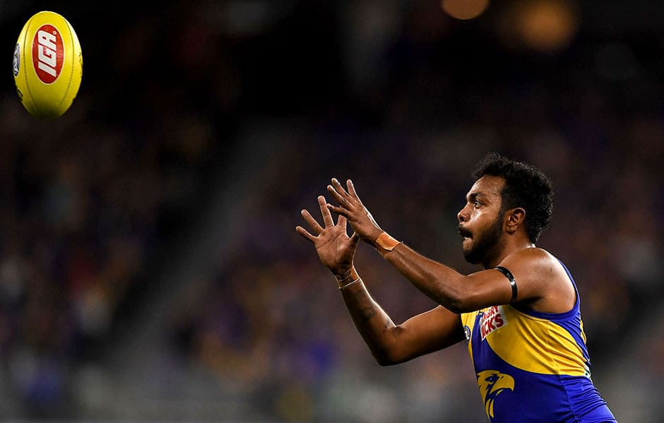PERTH, AUSTRALIA - JULY 12: Willie Rioli of the Eagles takes a mark during the 2019 AFL round 17 match between the West Coast Eagles and the Collingwood Magpies at Optus Stadium on July 12, 2019 in Perth, Australia. (Photo by Daniel Carson/AFL Photos)