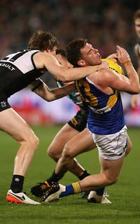 Luke Shuey received a free kick for this tackle in the final minute