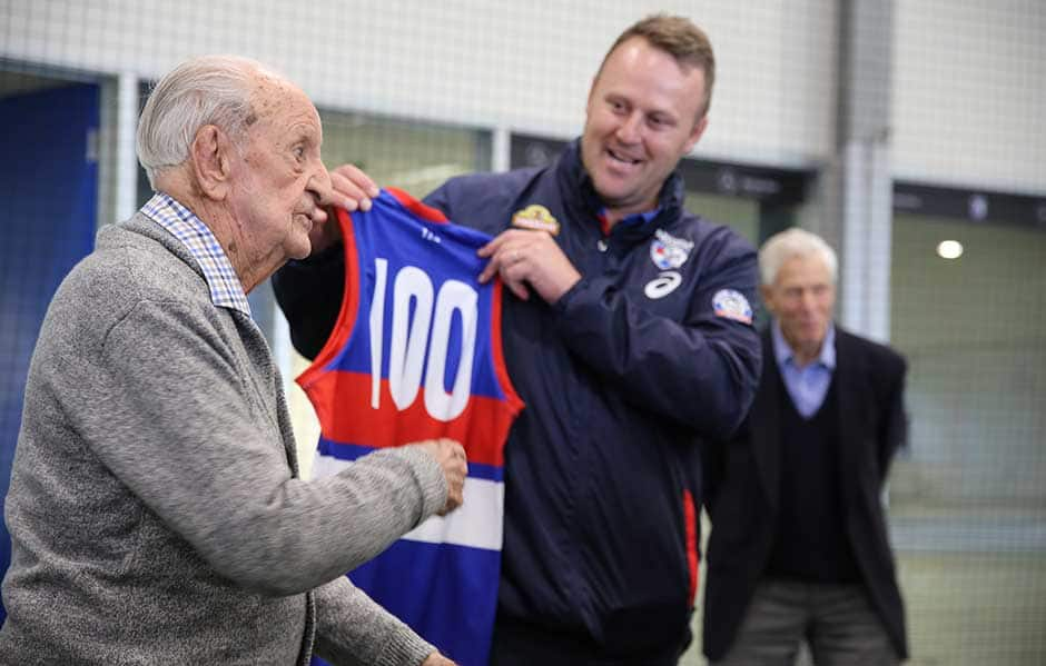 Jim Miller, the Club's oldest living past player and former President turns 100 today.  - Western Bulldogs