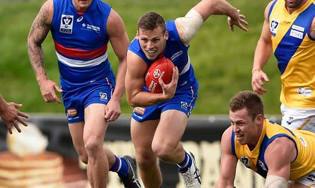 Joshn Prudden was named among the bests in Saturday's loss to Williamstown. (Photo: Liz Vagg/Western Bulldogs)