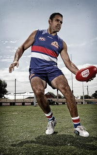 Brett Goodes poses for a photograph during the Western Bulldogs 2014 team photo day at Whitten Oval, Melbourne on January 29, 2014. (Photo: Michael Willson/AFL Media) (Editor's Note: A digital filter has been applied to this image)