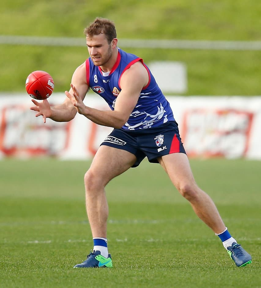MELBOURNE, AUSTRALIA - SEPTEMBER 27: Stewart Crameri of the Bulldogs in action during the Western Bulldogs training session at Whitten Oval in Melbourne, Australia on September 27, 2016. (Photo by Michael Willson/AFL Media)