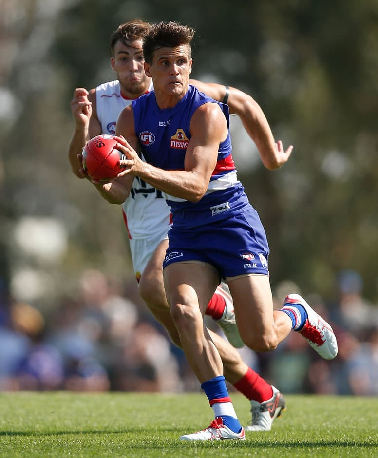 MELBOURNE, AUSTRALIA - MARCH 6: Jed Adcock of the Bulldogs in action during the 2016 NAB Challenge match between the Western Bulldogs and the Melbourne Demons at Highgate Recreational Reserve, Craigieburn on March 6, 2016. (Photo by Michael Willson/AFL Media)