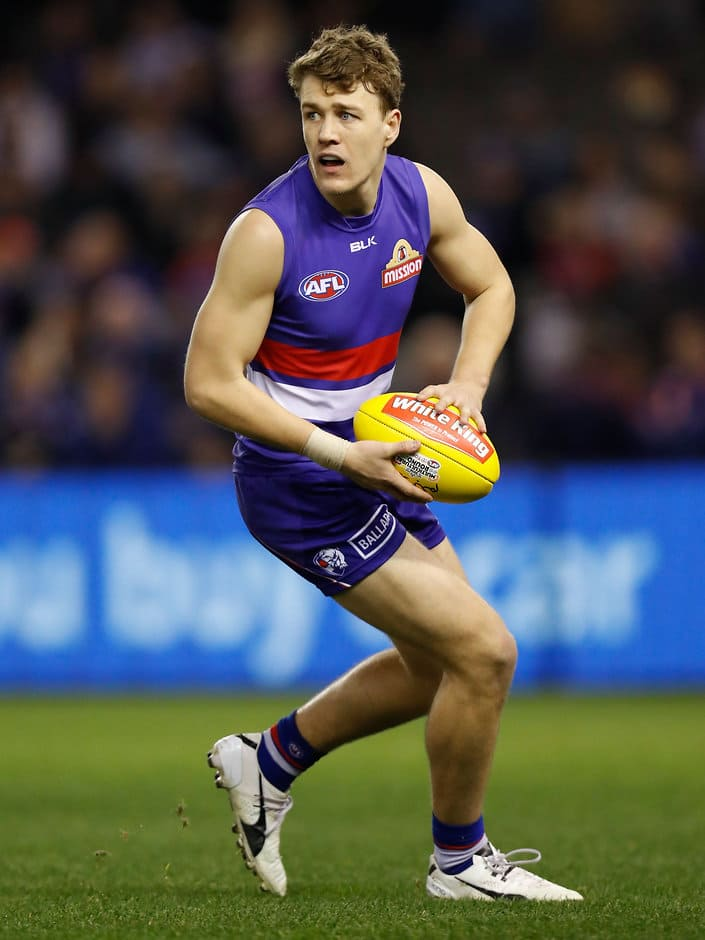 MELBOURNE, AUSTRALIA - JULY 09: Jack Macrae of the Bulldogs in action during the 2016 AFL Round 16 match between the Western Bulldogs and the Richmond Tigers at Etihad Stadium on July 9, 2016 in Melbourne, Australia. (Photo by Michael Willson/AFL Media)
