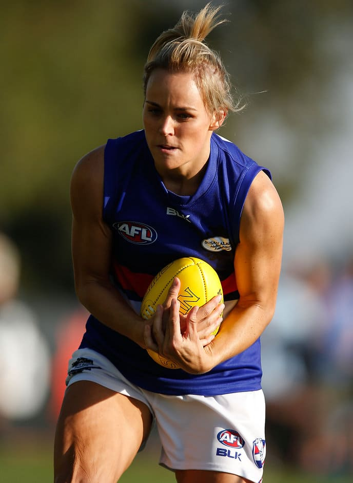 MELBOURNE, AUSTRALIA - MARCH 6: Kirby Hicks of the Bulldogs in action during the 2016 AFL Womens exhibition match between the Western Bulldogs and the Melbourne Demons at Highgate Recreational Reserve, Craigieburn on March 6, 2016. (Photo by Michael Willson/AFL Media)