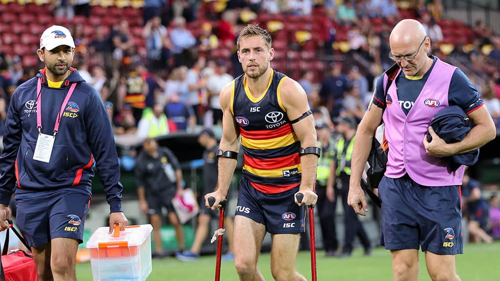 Crow midfielder Richard Douglas with crutches after the clash with Hawthorn - AFL,Adelaide Crows,Brisbane Lions,Carlton Blues,Collingwood Magpies,Essendon Bombers,Fremantle Dockers,Geelong Cats,Gold Coast Suns,GWS Giants,Hawthorn Hawks,Melbourne Demons,North Melbourne Kangaroos,Port Adelaide Power,Richmond Tigers,St Kilda Saints,Sydney Swans,West Coast Eagles,Western Bulldogs,News,Injury list,Injuries