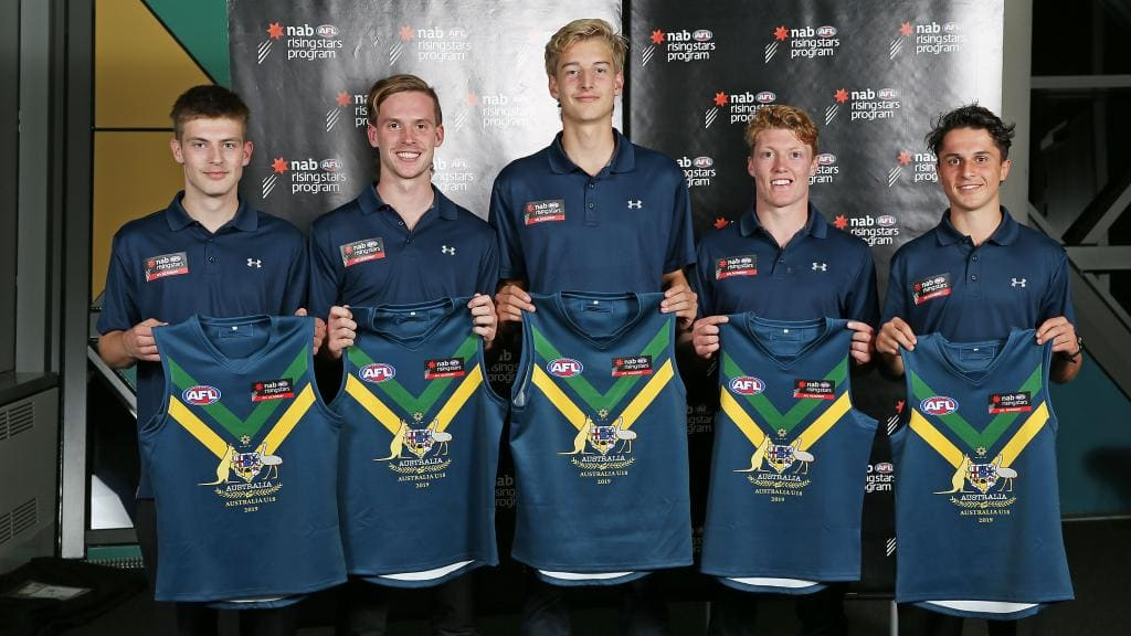 The Oakleigh Chargers crew: Dylan Williams, Noah Anderson, Nick Bryan, Matt Rowell and Trent Bianco - Under-18s,AFL,AFL Academy