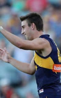 Elliot Yeo celebrates a goal against Essendon on Sunday