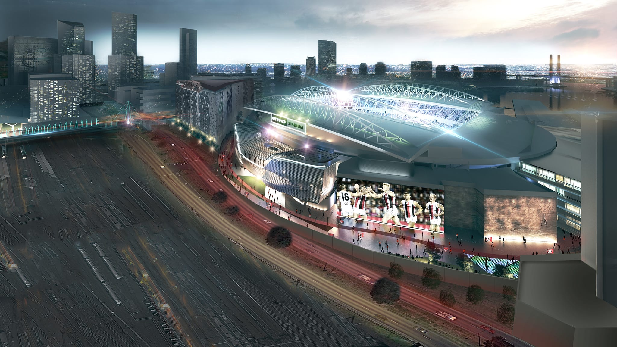 Artist impression of a revamped Etihad Stadium - AFL,MCG,Etihad Stadium,VU Whitten Oval,Ikon Park,Mars Stadium
